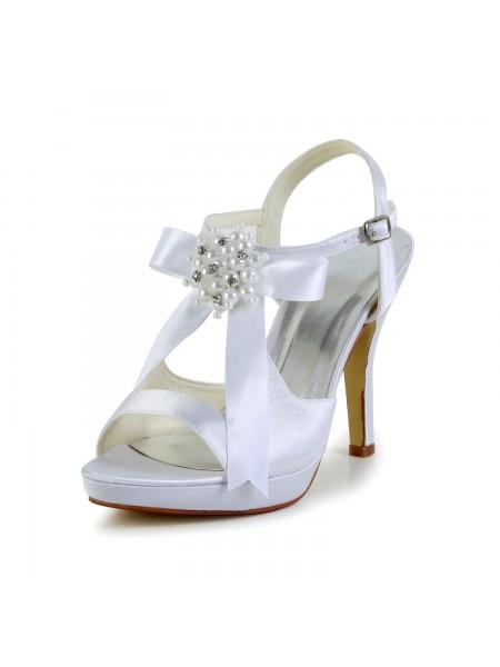Women's Satijn Stiletto Heel Peep Toe Platform Sandals White Wedding Shoes With Strik