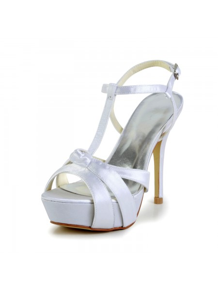 Women's Satijn Stiletto Heel Peep Toe Slingbacks Sandal White Wedding Shoes With Buckle