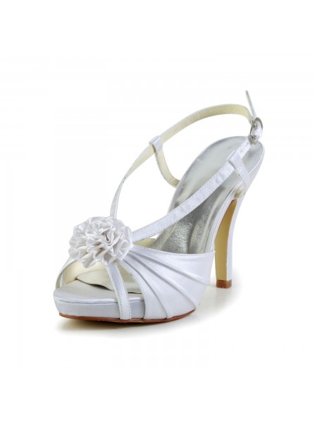 Women's Satijn Stiletto Heel Peep Toe Platform White Wedding Shoes With Buckle