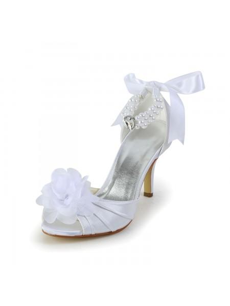 Women's Satijn Stiletto Heel Peep Toe Dance Shoes With Imitation Pearl