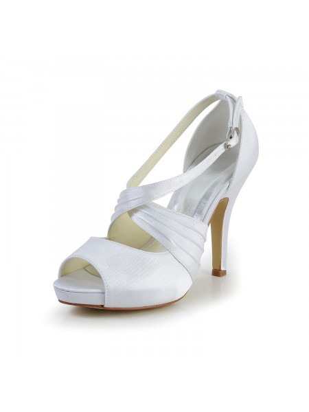 Women's Satijn Stiletto Heel Peep Toe With Buckle White Wedding Shoes