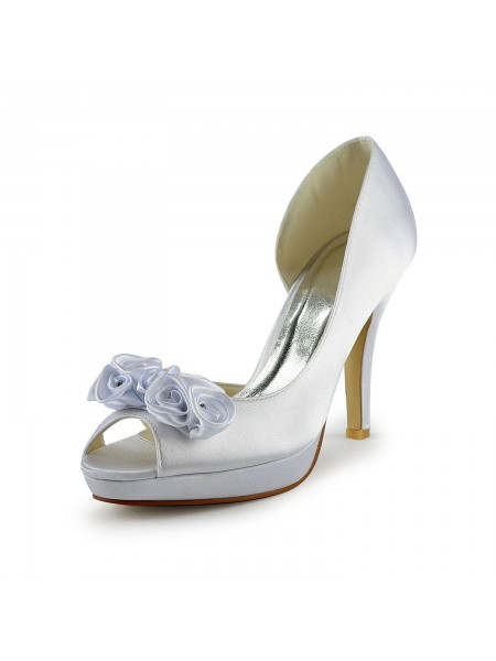 Women's Satijn Stiletto Heel Peep Toe With Flower White Wedding Shoes