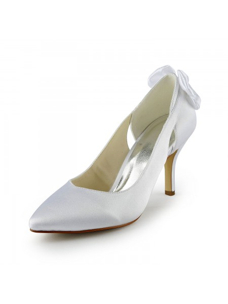 Women's Satijn Stiletto Heel Pumps With Hollow-out White Wedding Shoes