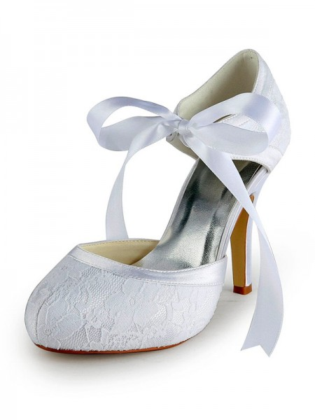 Women's Satijn Stiletto Heel Pumps with Kant White Wedding Shoes