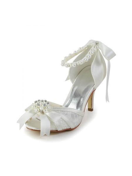 Women's Satijn Stiletto Heel Sandals Dance Shoes Pearl