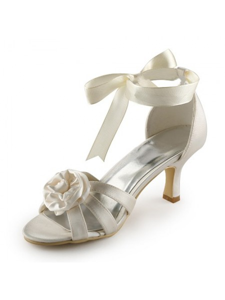 Women's Satijn Stiletto Heel Sandals Ivory Wedding Shoes With Satijn Flower
