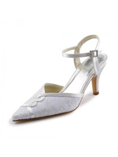 Women's Satijn Stiletto Sandals With Stitching Kant White Wedding Shoes