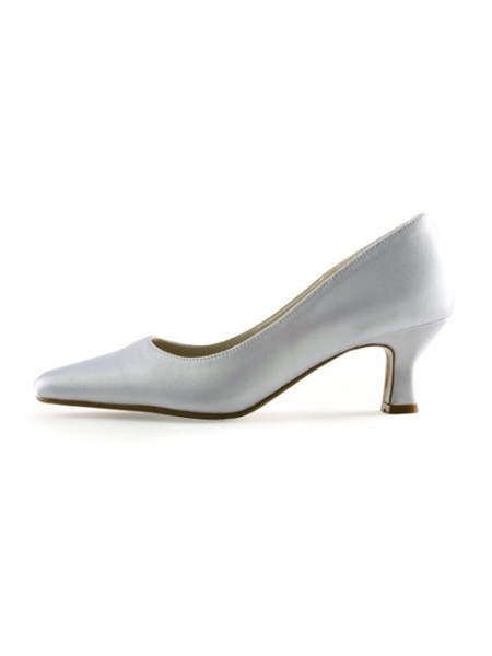 Women's Satijn Upper Chunky Heel Pointed Toe White Wedding Shoes