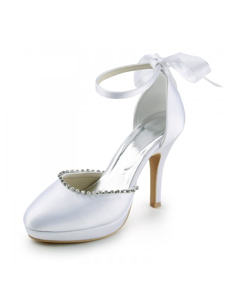 Women's Satijn Stiletto Heel Closed Toe with Bergkristals White Wedding Shoes