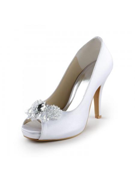 Women's Satijn Upper Stiletto Heel Peep Toe Pumps with Bergkristal White Wedding Shoes