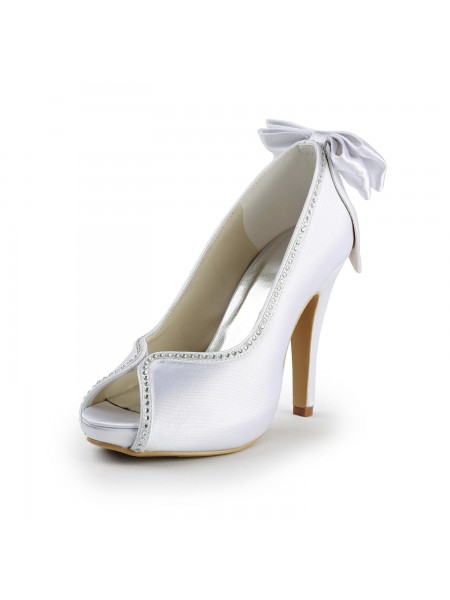 Women's Satijn Stiletto Heel Peep Toe With Strik White Wedding Shoes
