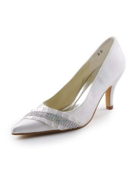 Women's Satijn Stiletto Heel Pointed toe With Bergkristal White Wedding Shoes