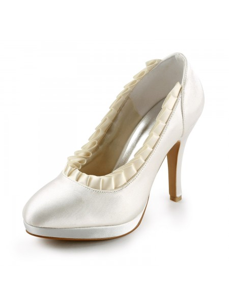 Women's Satijn Upper Stiletto Heel Pumps With Ruches Ivory Wedding Shoes