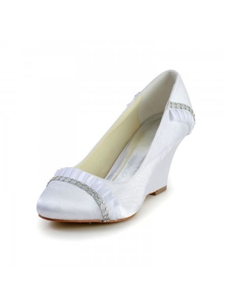 Women's Satijn Wedge Heel Wedges Closed Toe White Wedding Shoes