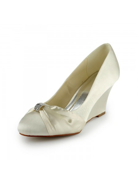 Women's Satijn Wedge Heel Wedges With Bergkristal Ivory Wedding Shoes