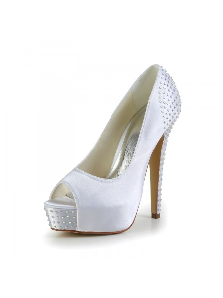 Women's Satijn Stiletto Heel Peep Toe Platform White Wedding Shoes With Bergkristal