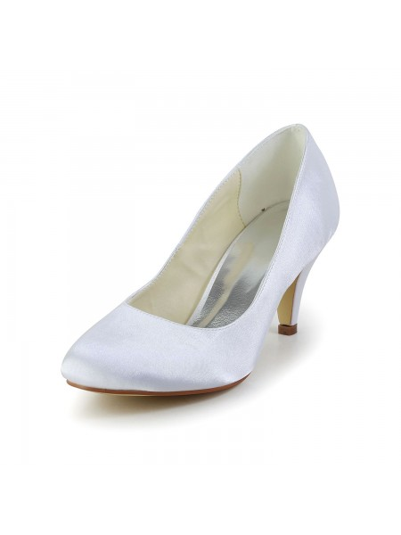 Women's Simples Satijn Cone Heel Closed Toe White Wedding Shoes