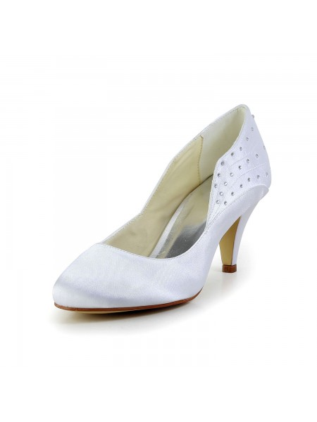 Women's Simple Satijn Closed Toe Cone Heel White Wedding Shoes With Bergkristal
