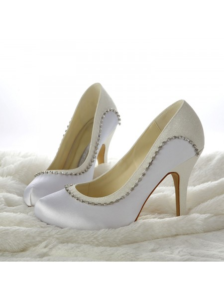 Women's Stiletto Heels Closed-toe Kralenwerk White Wedding Shoes