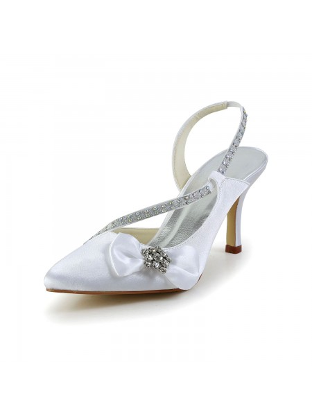 Women's Satijn Closed Toe Spool Heel With Bergkristal Strik White Wedding Shoes