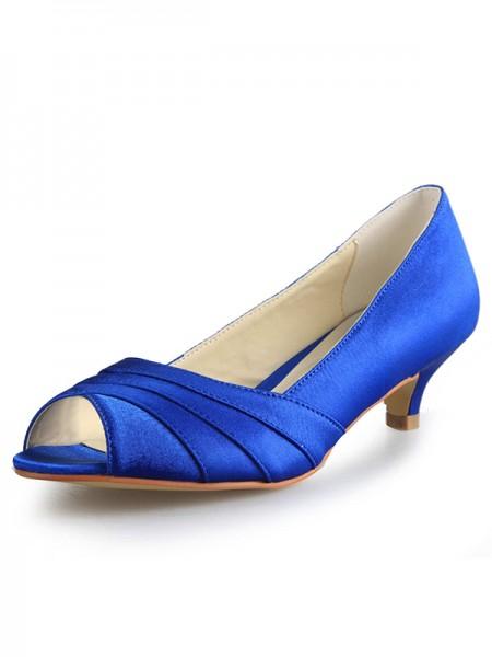 Women's Low Heel Peep Toe Satijn High Heels