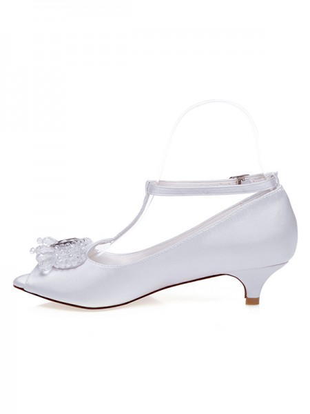 Women's Satijn Peep Toe Cone Heel Pearls Wedding Shoes