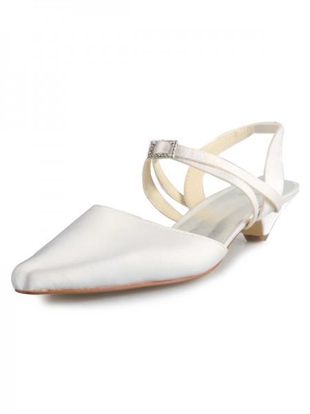 Women's Satijn Kitten Heel Closed Toe With Buckle White Wedding Shoes