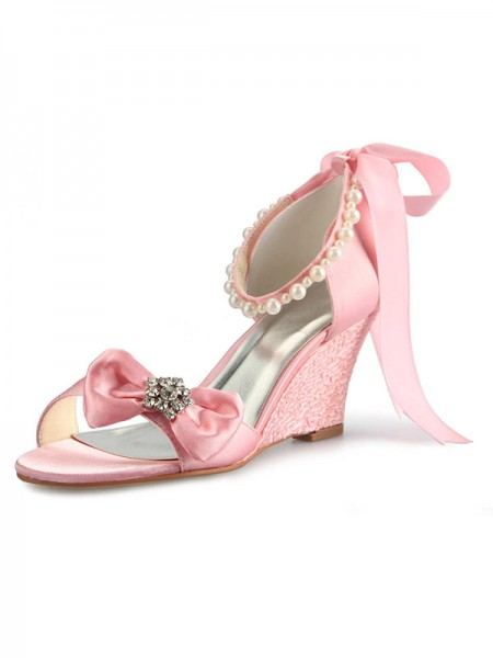 Women's Satijn Wedge Heel Peep Toe With Bergkristal Pearl Strik Pink Wedding Shoes