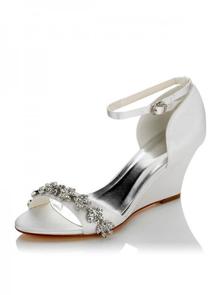 Women's Satijn PU Peep Toe Wedge Heel Wedding Shoes