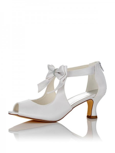 Women's Satijn PU Peep Toe Spool Heel Wedding Shoes