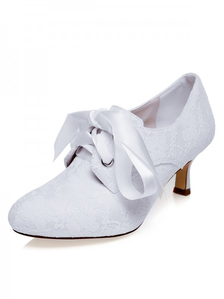 Women's Satijn Closed Toe Silk Spool Heel Wedding Shoes