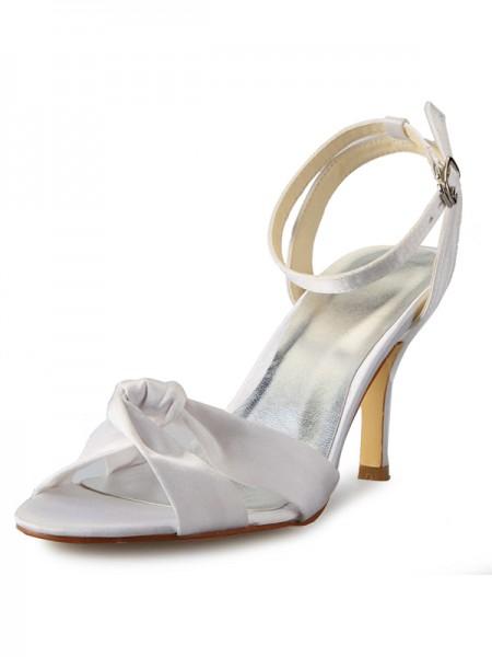Women's Stiletto Heel Peep Toe Satijn With Buckle Mary Jane White Wedding Shoes