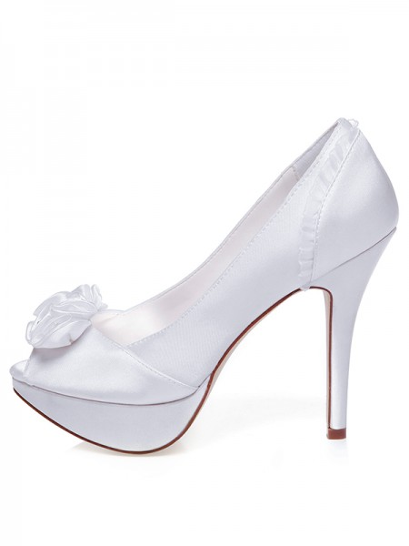 Women's Satijn Peep Toe Stiletto Heel Knots Wedding Shoes