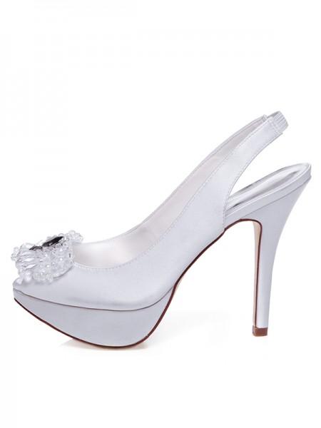 Women's Satijn Peep Toe Stiletto Heel Bergkristals Wedding Shoes