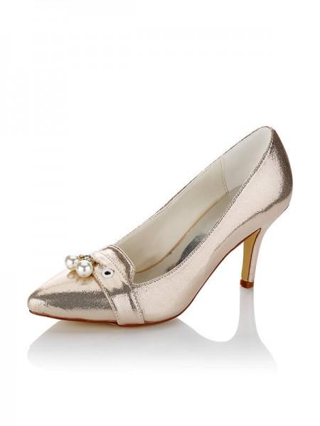 Women's Satijn PU Closed Toe Stiletto Heel Wedding Shoes