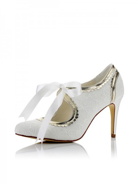 Women's Satijn PU Closed Toe Stiletto Heel Wedding Shoes