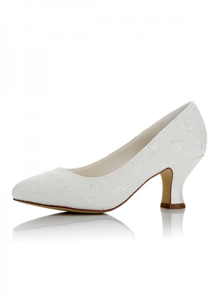 Women's Satijn PU Closed Toe Spool Heel Wedding Shoes