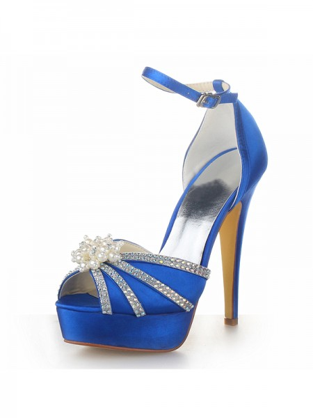Women's Satijn Stiletto Heel Platform Peep Toe With Pearl Royal Blue Wedding Shoes