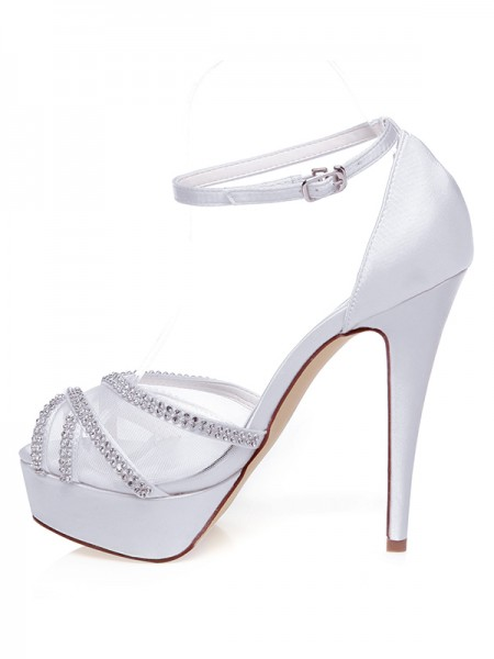 Women's Satijn Peep Toe Stiletto Heel Bergkristals Wedding Shoes