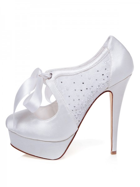 Women's Satijn Closed Toe Stiletto Heel Silk Wedding Shoes