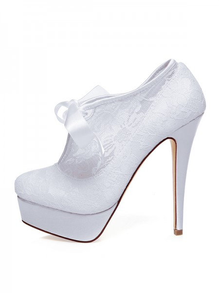Women's Satijn Closed Toe Silk Stiletto Heel Wedding Shoes