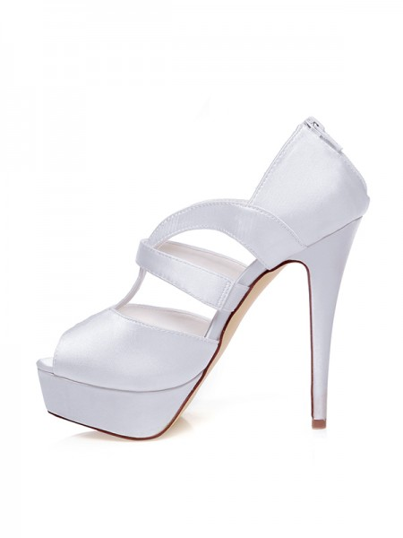 Women's Satijn Peep Toe Zipper Stiletto Heel Wedding Shoes