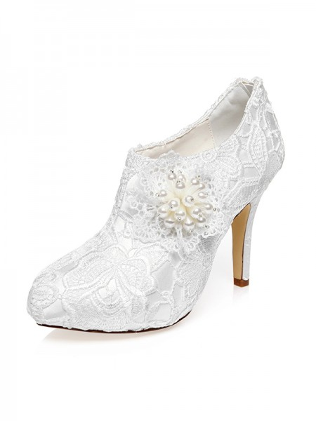 Women's Satijn Closed Toe Stiletto Heel Flower Wedding Shoes