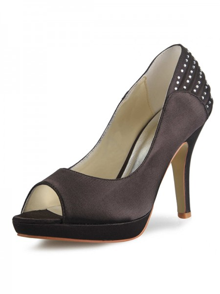 Women's Satijn Cone Heel Platform Peep Toe With Bergkristal Platforms Shoes
