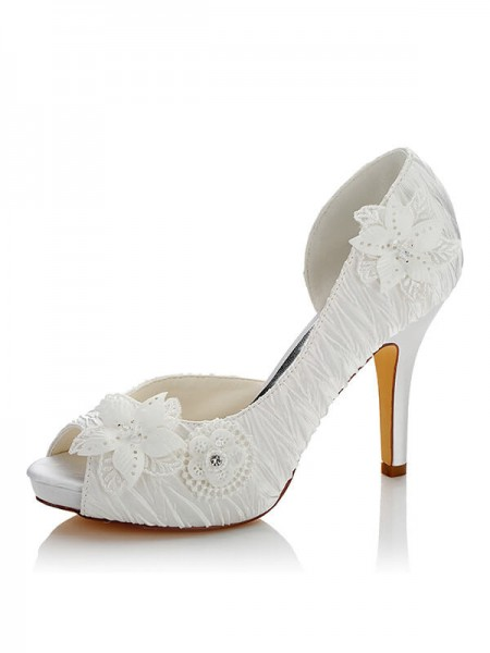 Women's Satijn PU Peep Toe Stiletto Heel Wedding Shoes