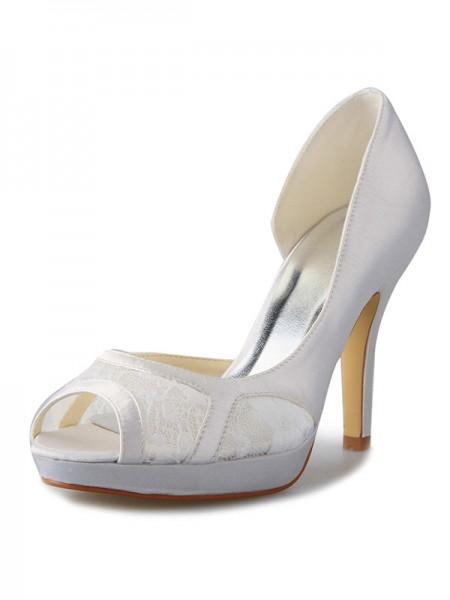 Women's Stiletto Heel Satijn Platform Peep Toe With Kant White Wedding Shoes