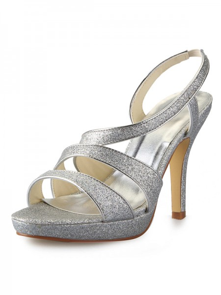 Women's Cone Heel Platform Satijn Peep Toe With Sparkling Glitter Sandals Shoes