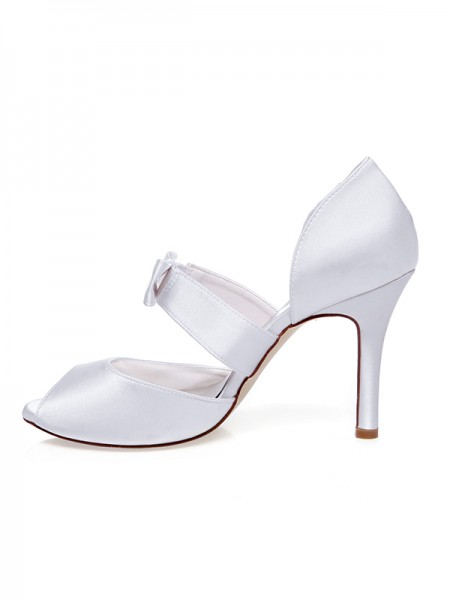 Women's Satijn Peep Toe Strik Stiletto Heel Wedding Shoes