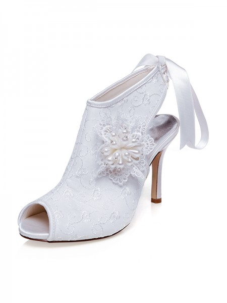 Women's Satijn Peep Toe Flower Stiletto Heel Wedding Shoes