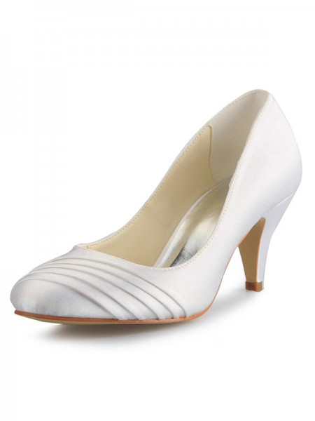 Women's Cone Heel Satijn Closed Toe White Wedding Shoes